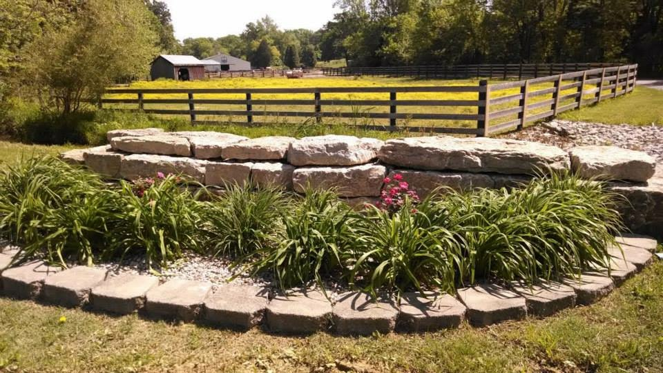 Beautiful landscaping with plants and rocks - Razor Creek Stables Louisville, KY