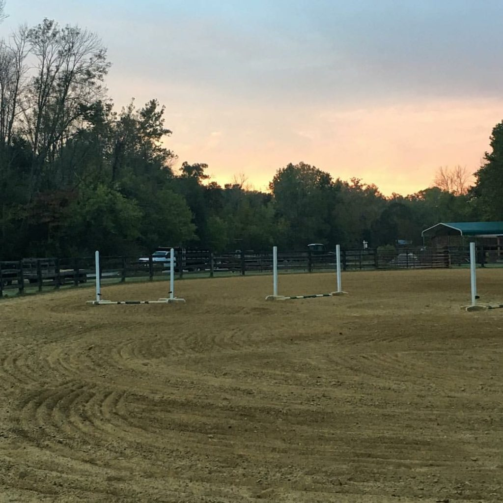 Horse jumping ring freshly raked